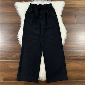 Lululemon Sz 6 Black Tie Waist Noir Pants Wide Leg